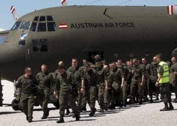epa03198404 A contingent of Austrian NATO peacekeepers arrive by plane at a military airport near the western town of Gjakova, Kosovo, 27 April 2012, as part of 700 troops sent to reinforce soldiers of the NATO peacekeeping mission in Kosovo (KFOR) as upcoming polls in Serbia have raised tensions. Tensions rose after Serbia announced plans to hold elections in northern Kosovo. The north has been hit by a spate of violent attacks in recent weeks. The reinforcements come shortly after NATO reduced its presence in Kosovo to 5,300 troops.  EPA/VALDRIN XHEMAJ