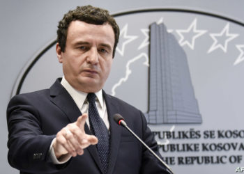 Kosovo's Prime Minister Albin Kurti speaks during a press conference in Pristina on February 26, 2020. (Photo by Armend NIMANI / AFP)