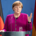 BERLIN, GERMANY - MAY 18: German Chancellor Angela Merkel speaks to the media at the Chancellery at a joint press conference with French President Emmanuel Macron (unseen), during the coronavirus crisis on May 18, 2020 in Berlin, Germany. The two leaders announced they intend to launch a joint European Union recovery initiative to the tune of EUR 500 billion. (Photo by Andreas Gora - Pool/Getty Images)