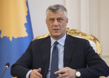 epa05792927 President of the Republic of Kosovo Hashim Thaci during his meeting with Norwegian Minister of Foreign Affairs Brende Borge (not pictured) in Pristina, Kosovo, 14 February 2017. Borge is one-day official visit to Kosovo.  EPA/VALDRIN XHEMAJ