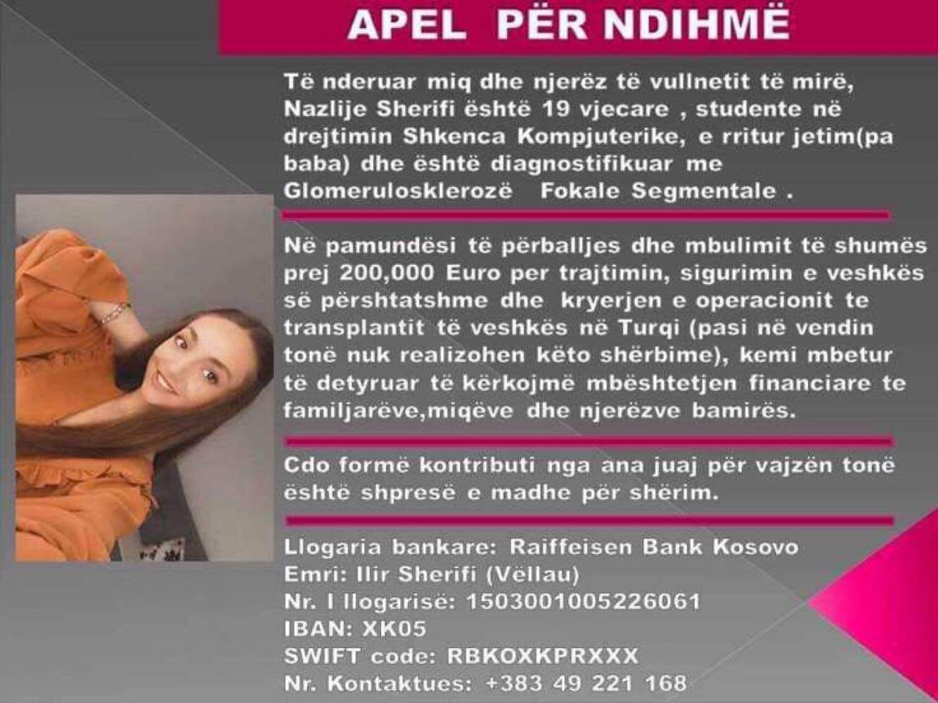 Nazlije Sherifi nga Mitrovica ka nevojë për ndihmën tuaj