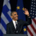 U.S. President Barack Obama waves to the crowd as he delivers a speech at the new opera of Athens on Wednesday, Nov. 16, 2016. The Greek Government has pinned its hopes on Obama persuading some of the financially stricken country's more reluctant international creditors to grant debt relief, as well as pressuring other European countries to share more of the burden of the continent's refugee crisis. (AP Photo/Thanassis Stavrakis)