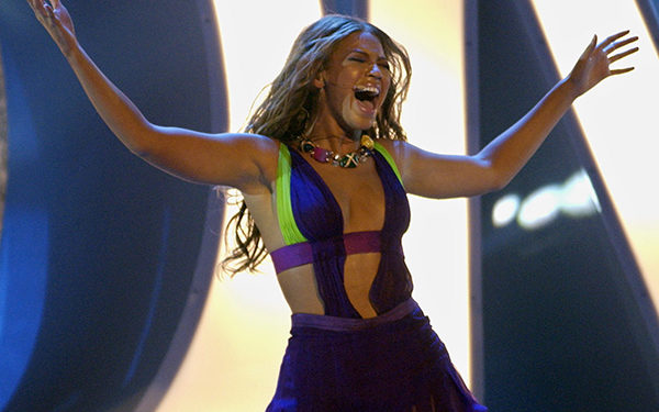 """Beyonce performs """"Crazy in Love"""" during the 3rd annual BET Awards Tuesday, June 24, 2003, in Los Angeles. (AP Photo/Kevork Djansezian)"""